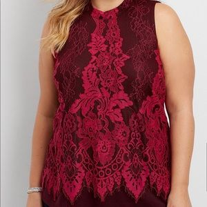 Maurices Knit Tank with Lace Overlay - 1 - NWOT